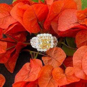 sure cut yellow diamond ring